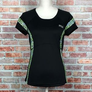 FILA Sport Running Black Animal Print Graphic Top